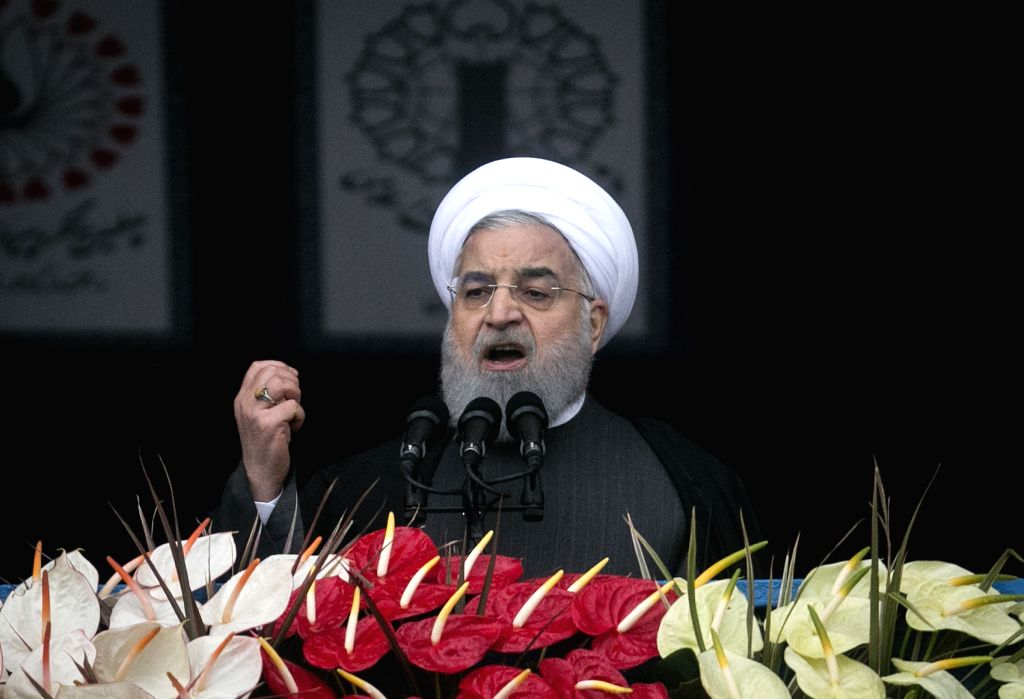 TEHRAN, Feb. 11, 2019 - Iranian President Hassan Rouhani speaks during a large gathering on the 40th anniversary of the Islamic Revolution at Azadi Square in Tehran, Iran, on Feb. 11, 2019. On ... - Hassan Rouhani