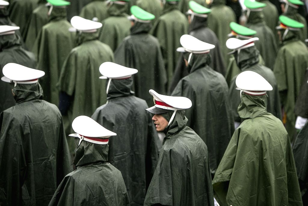 TEHRAN, Feb. 11, 2019 - Iranian soldiers attend a large gathering on the 40th anniversary of the Islamic Revolution at Azadi Square in Tehran, Iran, on Feb. 11, 2019. On Monday, hundreds of thousands ...
