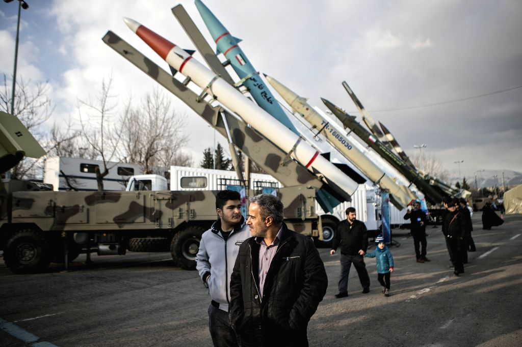 TEHRAN, Feb. 5, 2019 - People visit an exhibition of military achievements marking the 40th anniversary of the Islamic revolution in Tehran, Iran, on Feb. 4, 2019.