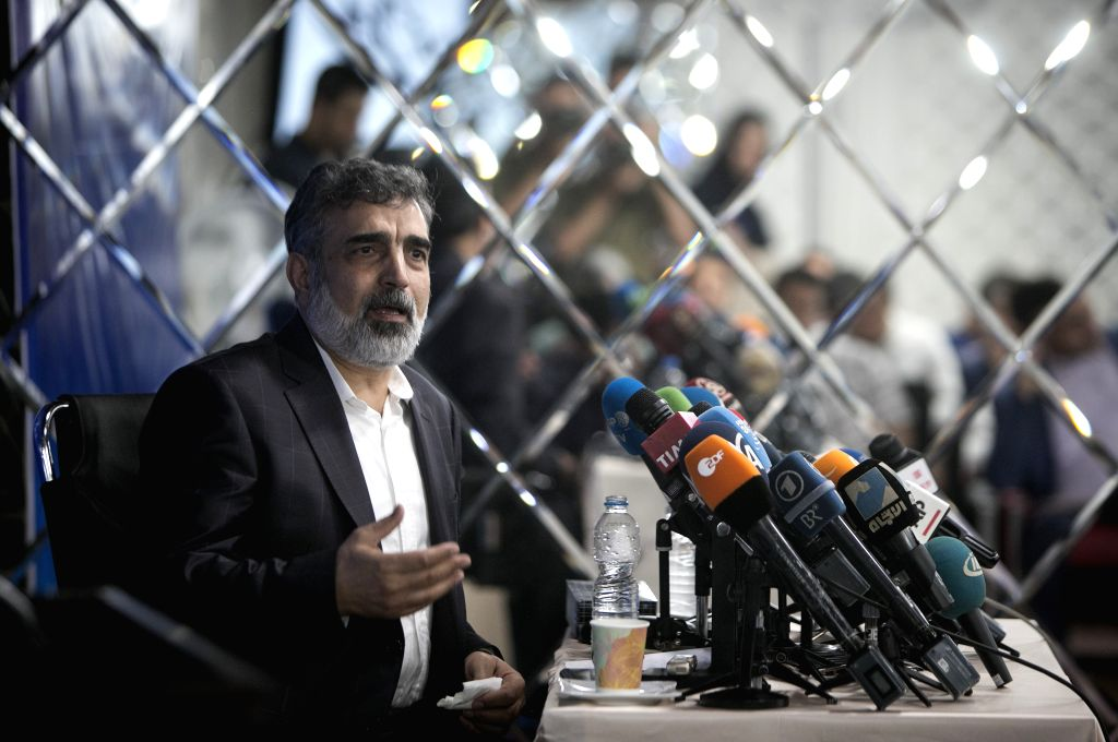 TEHRAN, July 18, 2018 (Xinhua) -- Spokesman for the Atomic Energy Organization of Iran Behrouz Kamalvandi speaks during a press conference in Tehran, Iran, on July 17, 2018. Iran has set up a factory to manufacture rotors used in advanced centrifuge