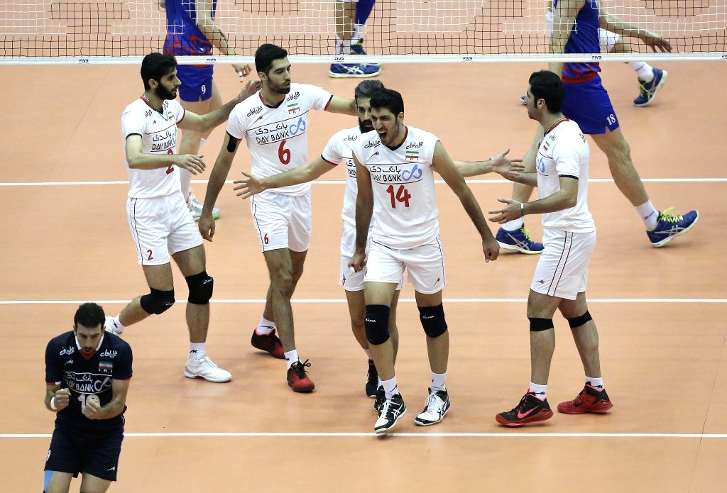 TEHRAN, July 2, 2016 - Players of Iran celebrate scoring during the match against Serbia at FIVB Men's Volleyball World League 2016 at Azadi Stadium in Tehran, Iran, on July 1, 2016. Iran won 3-2.