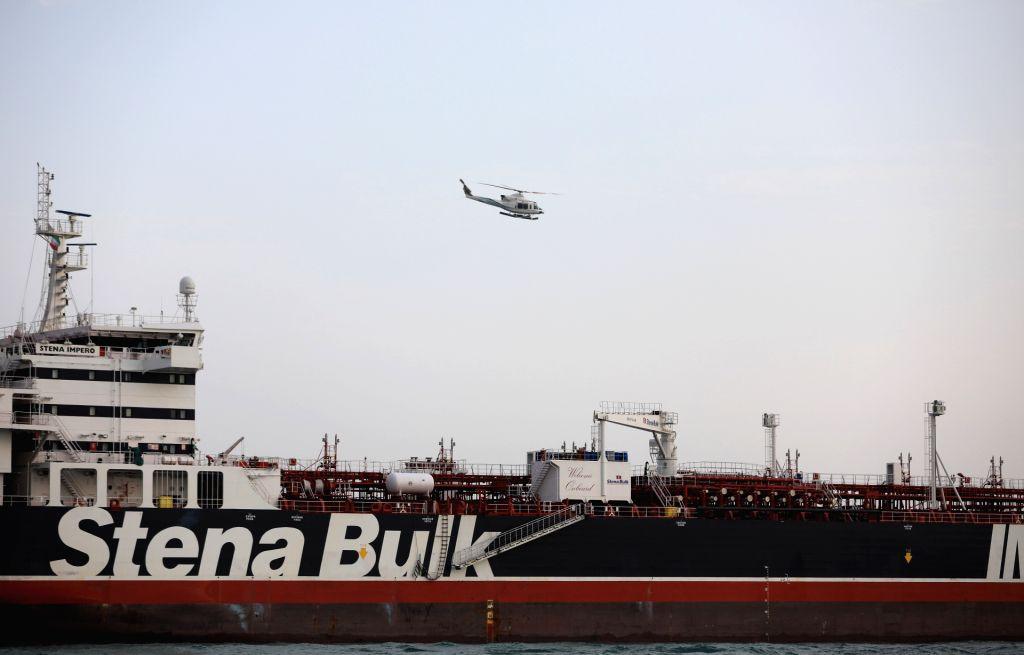 "TEHRAN, July 22, 2019 (Xinhua) -- The photo released on July 21, 2019 shows the British oil tanker ""Stena Impero"" near the Strait of Hormuz, Iran. Iran's Islamic Revolution Guard Corps (IRGC) seized the British oil tanker ""Stena Impero"" last Friday i"