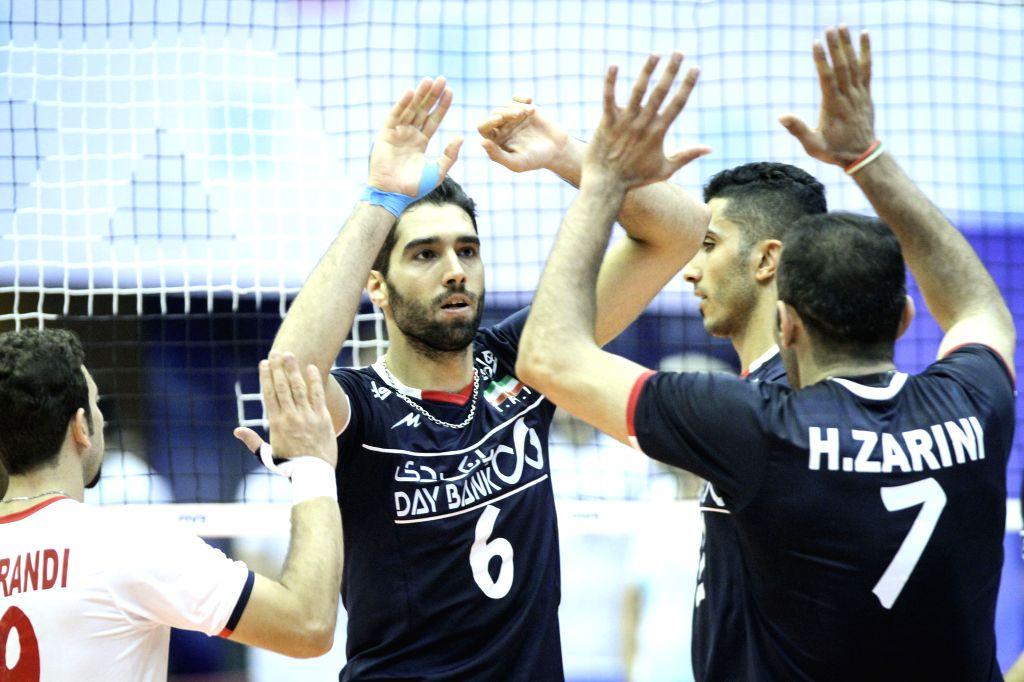 TEHRAN, July 4, 2016 - Players of Iran celebrate during a match against Argentina at FIVB Men's Volleyball World League 2016 at Azadi Stadium in Tehran, Iran, on July 3, 2016. Iran won the match 3-2.