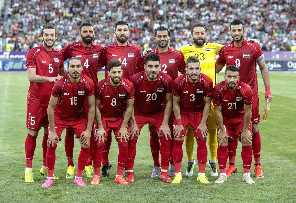 TEHRAN, June 7, 2019 - Players of Syria pose for photos before a friendly football match between Iran and Syria at Azadi Stadium in Tehran, Iran, June 6, 2019. Syria lost 0-5.