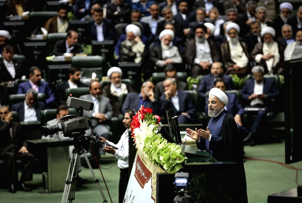 TEHRAN, May 28, 2016 - Iranian President Hassan Rouhani (Front) addresses the opening ceremony of Iran's new Majlis (parliament) in Tehran, capital of Iran, on May 28, 2016. Iran's new Majlis ... - Hassan Rouhani