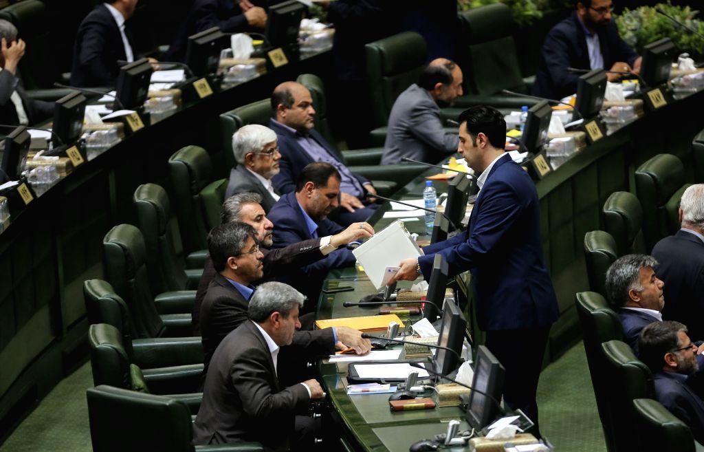 TEHRAN, May 29, 2016 - Iranian lawmakers cast their votes for the interim parliament speaker in Tehran, Iran, May 29, 2016. The Iranian legislators picked Ali Larijani as the interim speaker of the ...