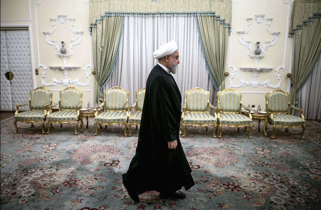 TEHRAN, Oct. 16, 2019 - Iranian President Hassan Rouhani arrives for his meeting with visiting South African Minister of International Relations and Cooperation Naledi Pandor at the Presidential ... - Hassan Rouhani