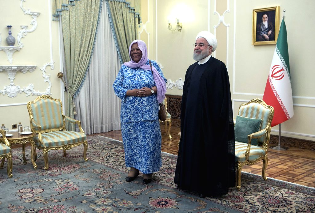 TEHRAN, Oct. 16, 2019 - Iranian President Hassan Rouhani (R) meets with visiting South African Minister of International Relations and Cooperation Naledi Pandor at the Presidential Palace in Tehran, ... - Hassan Rouhani