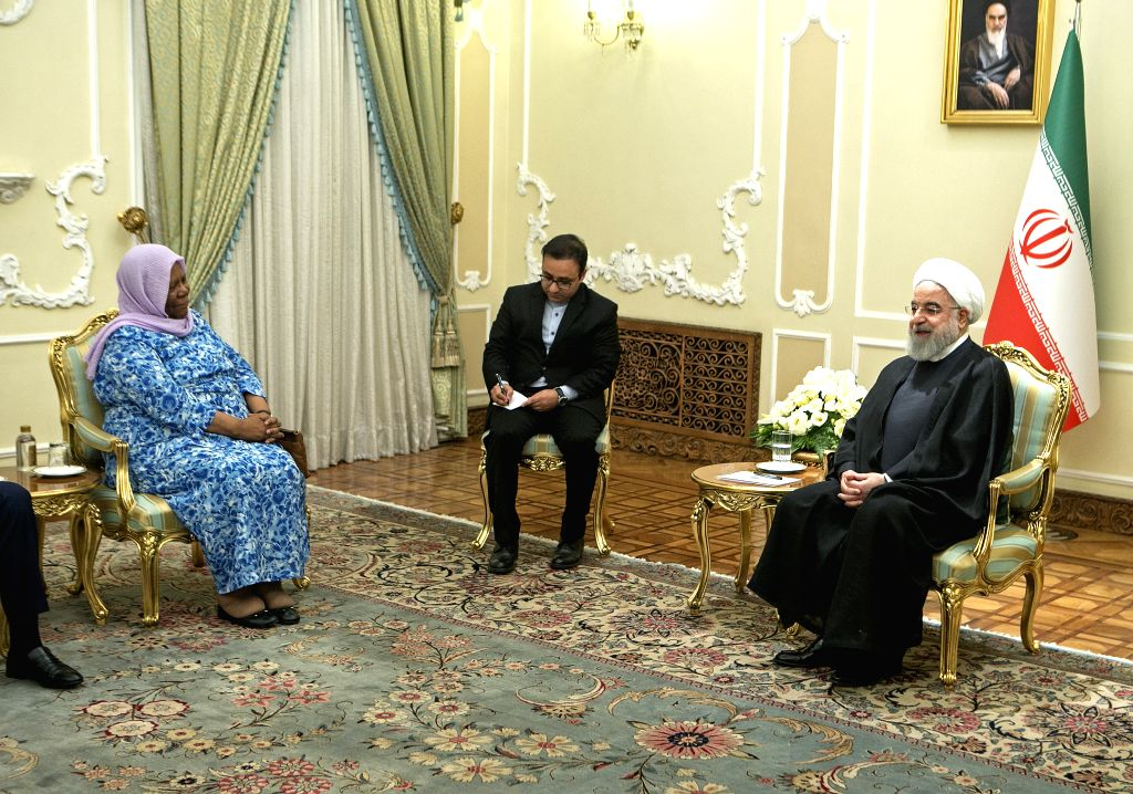 TEHRAN, Oct. 16, 2019 - Iranian President Hassan Rouhani (R) meets with visiting South African Minister of International Relations and Cooperation Naledi Pandor (L) at the Presidential Palace in ... - Hassan Rouhani