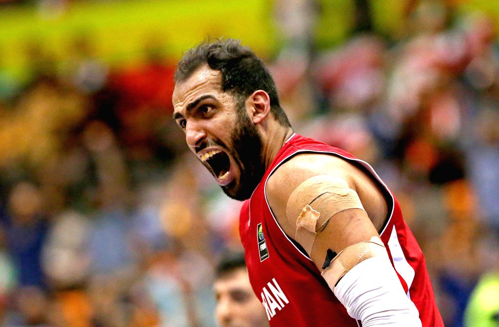 TEHRAN, Sept. 18, 2016 - Hamed Haddadi of Iran reacts during the semifinal match against Jordan at the 2016 FIBA Asia Challenge in Tehran, Iran, Sept. 17, 2016. Iran won 74-63.