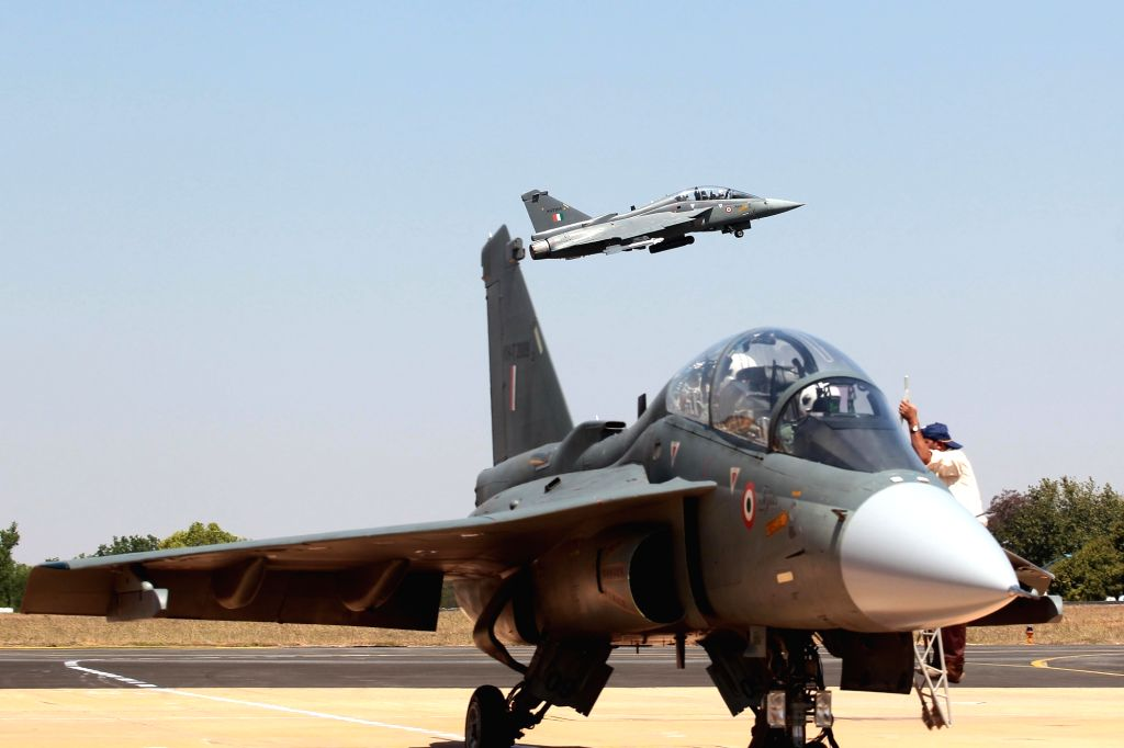 "Tejas Light combat aircraft during the ""Aero India 2019"" - air show at Yelahanka Air Force Station, in Bengaluru, on Feb 21, 2019."