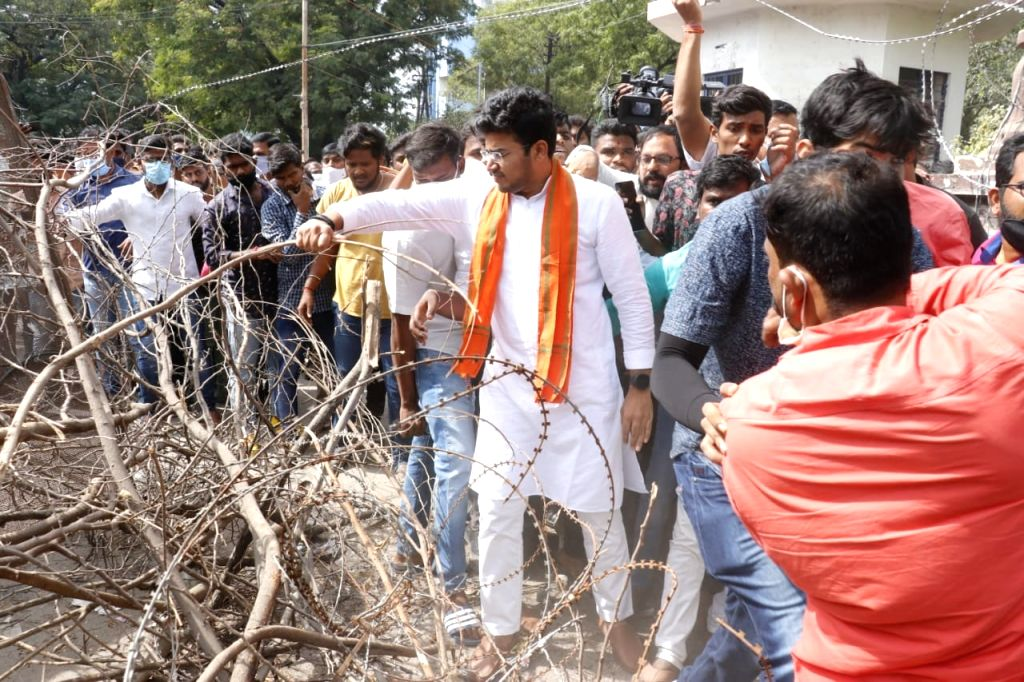 Tejasvi Surya removes police barricades to enter OU campus