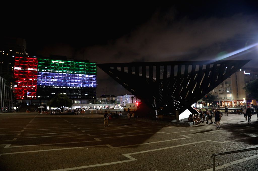 Tel Aviv,, Aug. 13, 2020 The Tel Aviv Municipality Hall is illuminated with the colors of the national flag of the United Arab Emirates in the central Israeli city of Tel Aviv on Aug. 13, ... - Benjamin Netanyahu