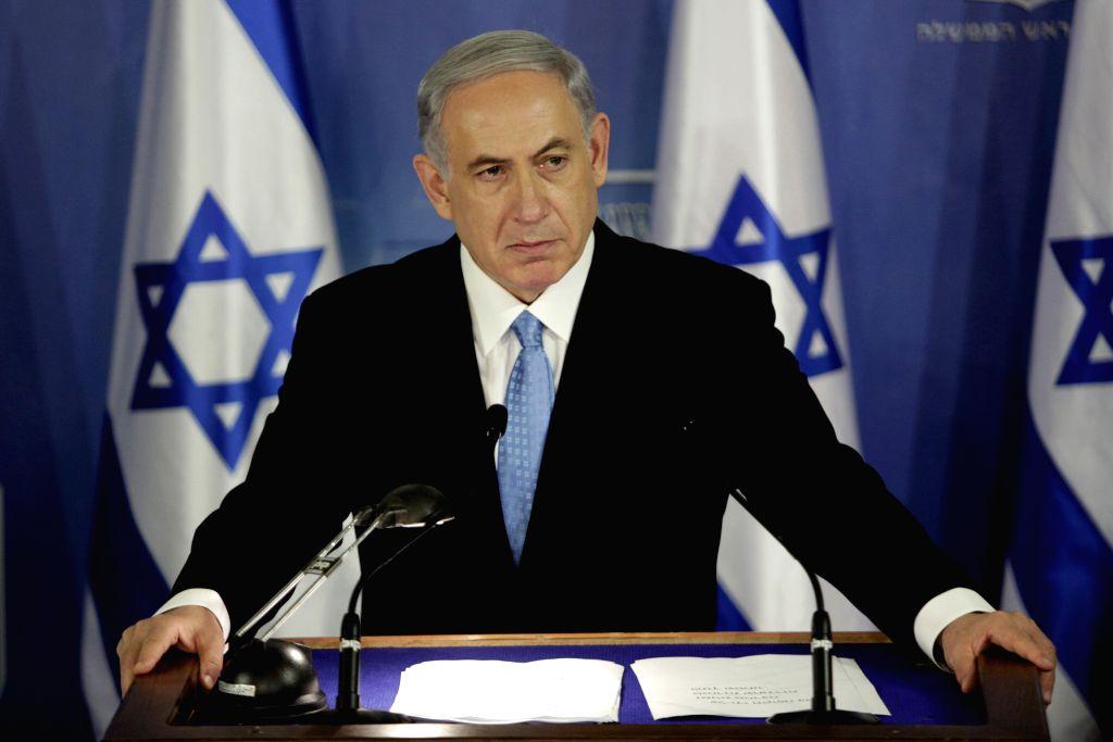 Israeli Prime Minister Benjamin Netanyahu attends a press conference at the Defense Ministry in Tel Aviv, Israel, Aug. 2, 2014. Netanyahu on Saturday said the ... - Benjamin Netanyahu