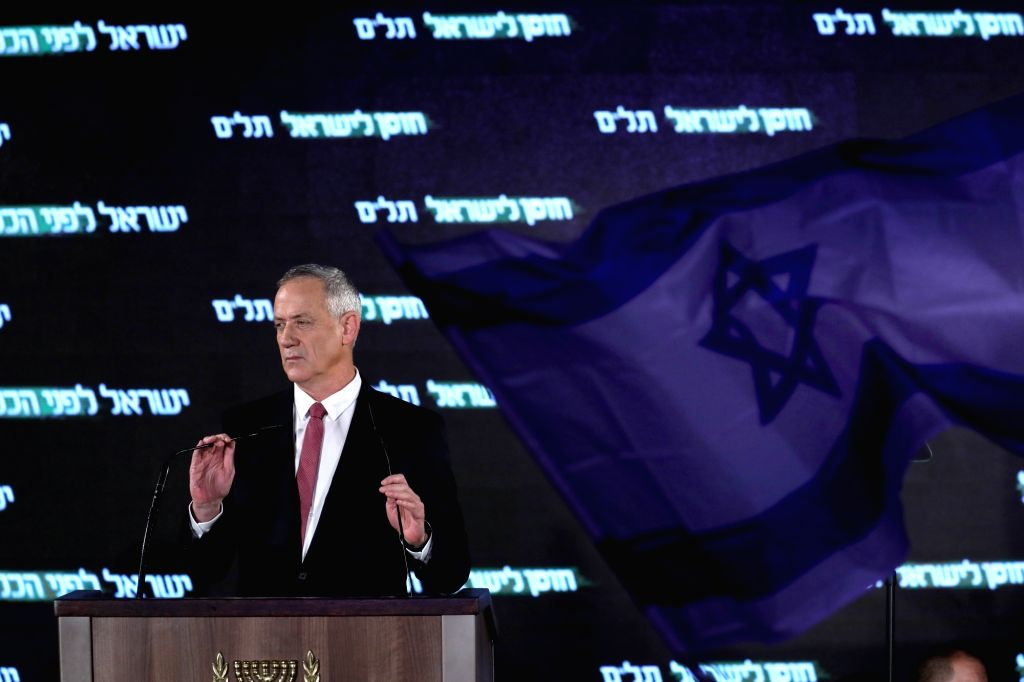 TEL AVIV, Feb. 20, 2019 - Benny Gantz, chairman of the Israel Resilience Party (Hosen L'Yisrael) and former chief of staff of the Israel Defense Forces, speaks during the presentation of his party's ...