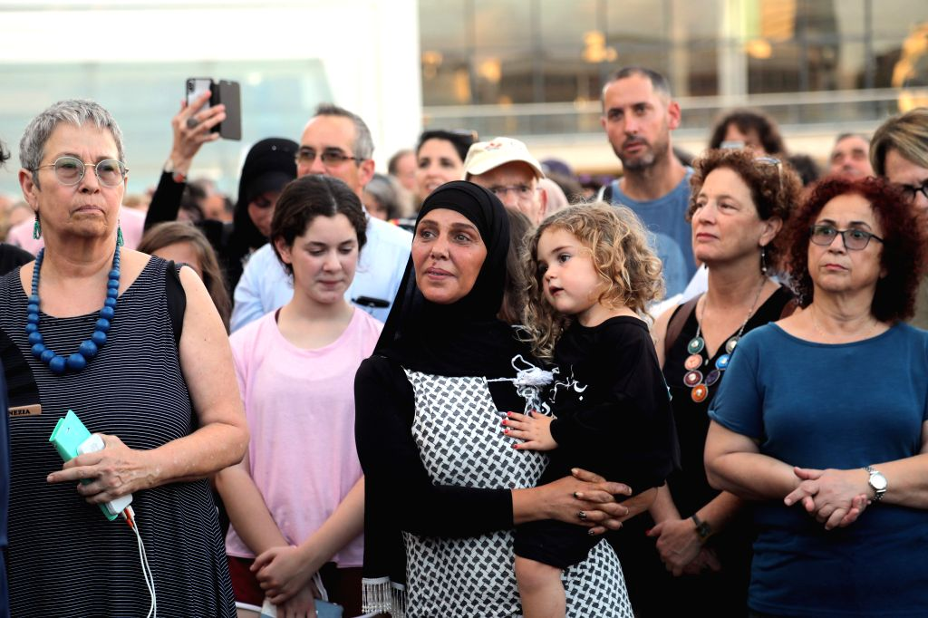 """TEL AVIV, July 30, 2018 - People take part in a protest against the Israeli """"Jewish nation-state"""" law in Tel Aviv, Israel, on July 30, 2018. Israel passed on July 19 a bill that defines the ..."""