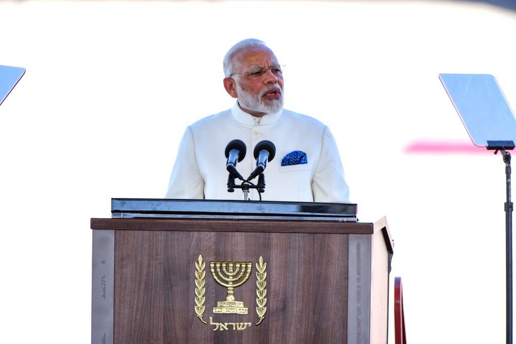 TEL AVIV, July 4, 2017 - Indian Prime Minister Narendra Modi delivers a speech at Ben Gurion International Airport outside Tel Aviv, Israel, on July 4, 2017. Indian Prime Minister Narendra Modi ... - Narendra Modi