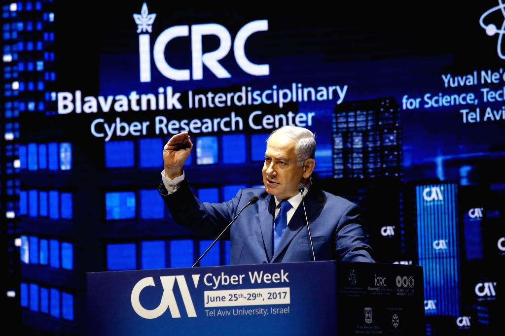 TEL AVIV, June 26, 2017 - Israeli Prime Minister Benjamin Netanyahu delivers a speech during a Cyber Week Conference in Tel Aviv, Israel, on June 26, 2017. - Benjamin Netanyahu