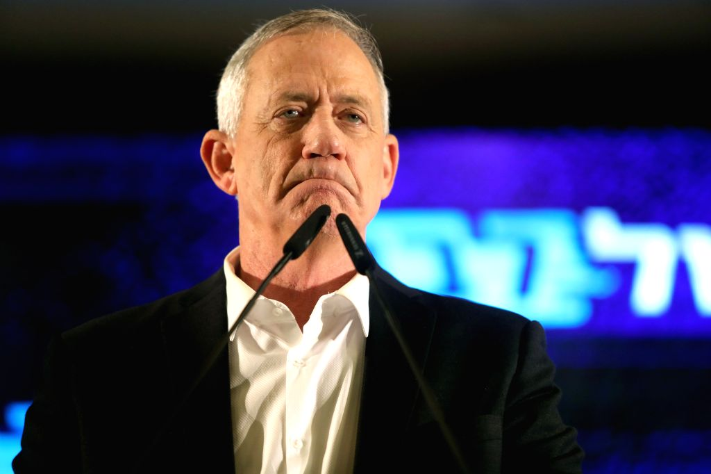 TEL AVIV, March 28, 2019 (Xinhua) -- Benny Gantz, one of the leaders of Israeli centrist party of Blue and White, speaks during a press conference in Tel Aviv, Israel, on March 27, 2019. Israel's elections will be held on April 9. (Xinhua/JINI/Gideon