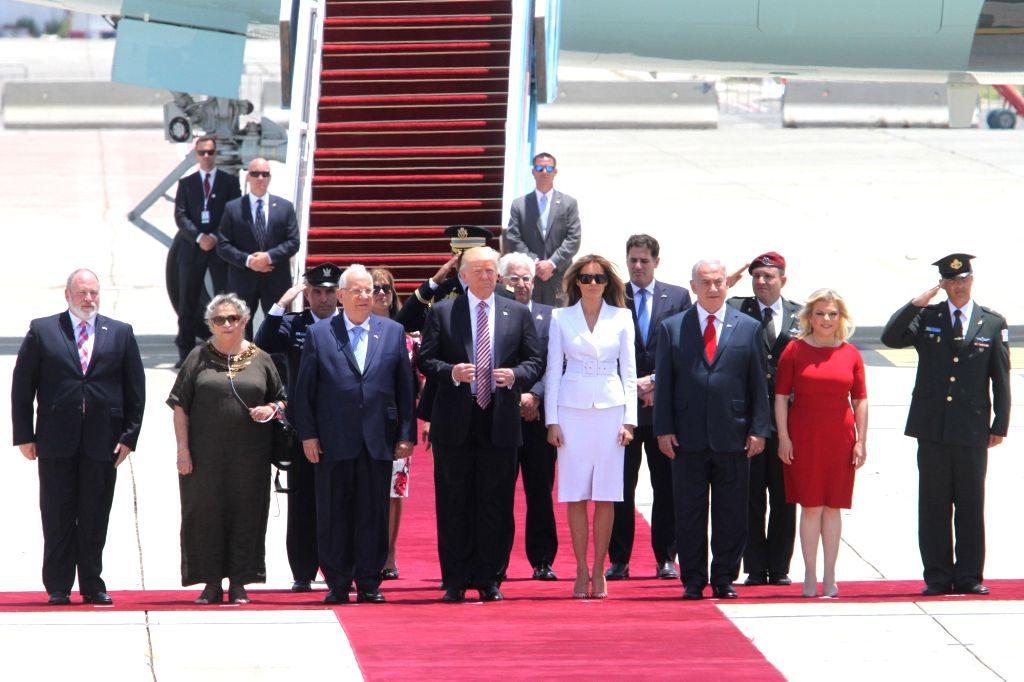 TEL AVIV, May 22, 2017 - U.S. President Donald Trump (front, 4th L) arrives at Ben Gurion International Airport in Tel Aviv, Israel, on May 22, 2017. Trump has arrived in Ben Gurion Airport in Tel ...