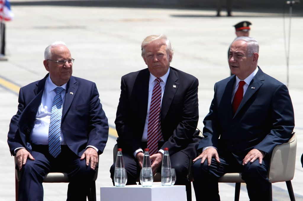 TEL AVIV, May 22, 2017 - U.S. President Donald Trump (C) and Israeli Prime Minister Benjamin Netanyahu (1st R) are pictured at Ben Gurion International Airport in Tel Aviv, Israel, on May 22, 2017. ... - Benjamin Netanyahu