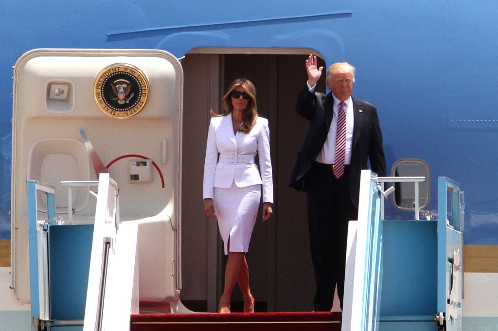 TEL AVIV, May 22, 2017 - U.S. President Donald Trump (R) and First Lady Melania Trump walk out of the Air Force One at Ben Gurion International Airport in Tel Aviv, Israel, on May 22, 2017. Trump has ...