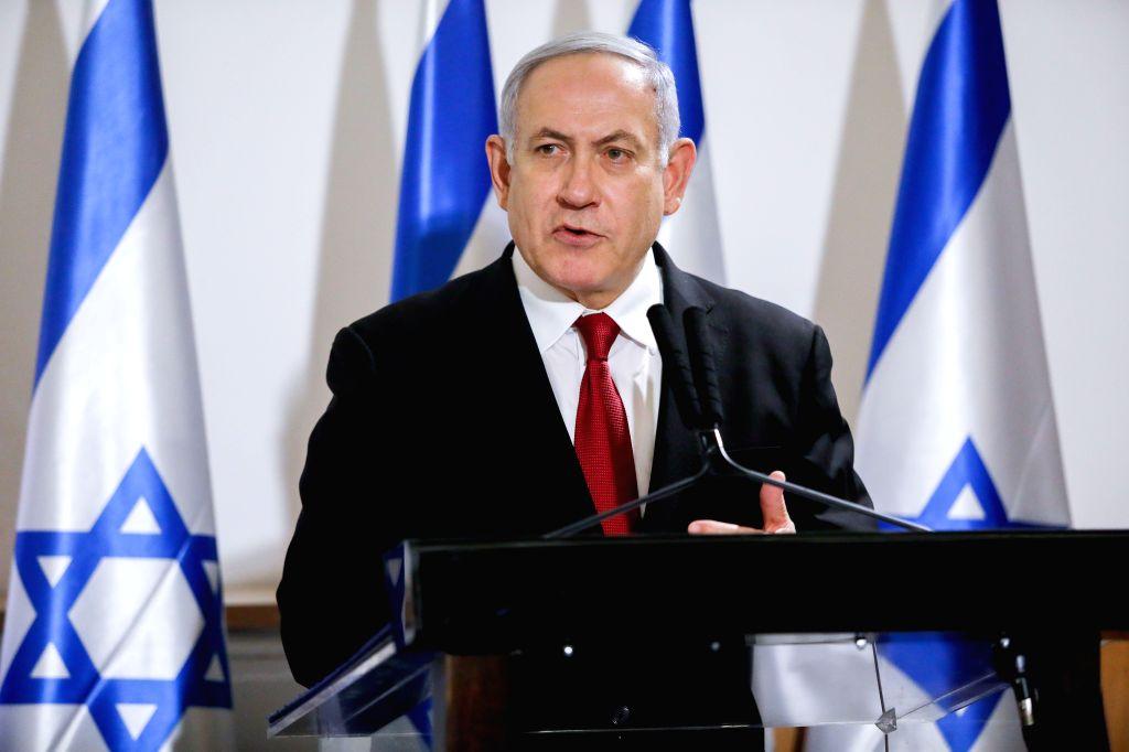 TEL AVIV, Nov. 21, 2019 (Xinhua) -- File photo taken on Nov. 12, 2019 shows Israeli Prime Minister Benjamin Netanyahu attending a press conference in Tel Aviv, Israel. Israeli Attorney General Avichai Mandelblit announced on Nov. 21 that Prime Minist - Benjamin Netanyahu
