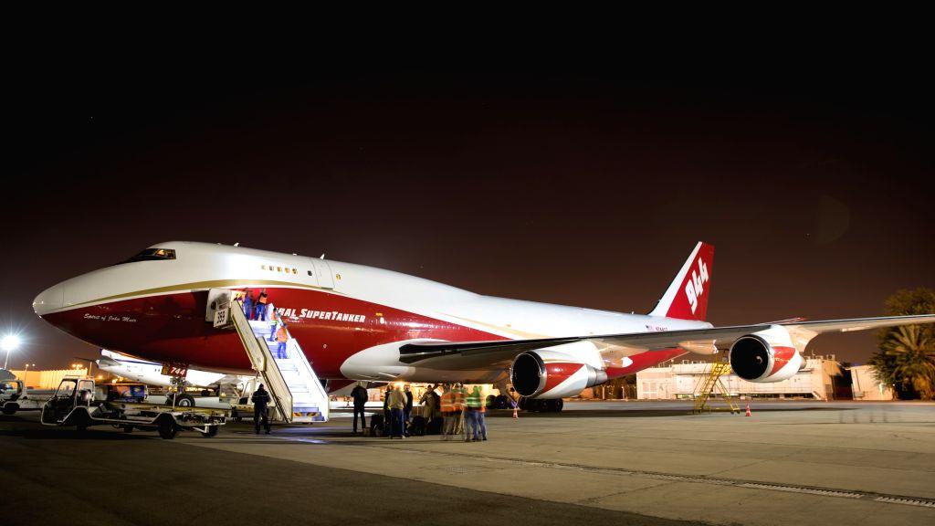 TEL AVIV, Nov. 26, 2016 - The Boeing 747 Global Supertanker parks on the tarmac of Ben Gurion International Airport in Tel Aviv, Israel, Nov. 25, 2016. The 747 Supertanker, the world's largest ...