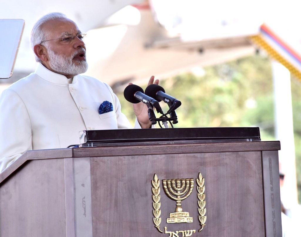 Tel Aviv: Prime Minister Narendra Modi addresses a press conference on arrival in Tel Aviv, Israel on July 4, 2017. - Narendra Modi