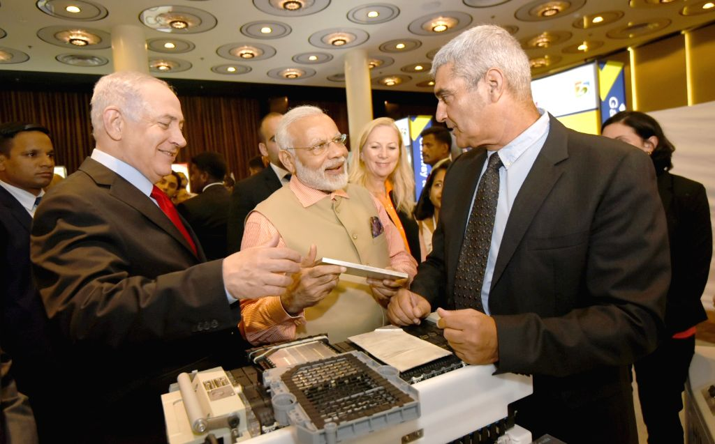 Tel Aviv: Prime Minister Narendra Modi and Israeli Prime Minister Benjamin Netanyahu visit the Technology Exhibition in Tel Aviv, Israel on July 6, 2017. - Narendra Modi