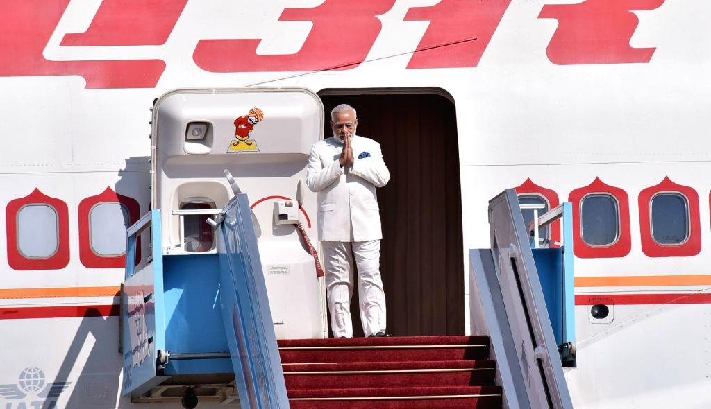 Tel Aviv: Prime Minister Narendra Modi arrives at Ben Gurion Airport in Tel Aviv, Israel on July 4, 2017. - Narendra Modi