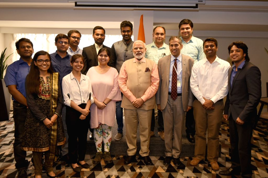 Tel Aviv: Prime Minister Narendra Modi with the Indian students in Tel Aviv, Israel on July 6, 2017. - Narendra Modi