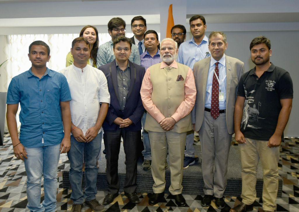 Tel Aviv: Prime Minister Narendra Modi with the Indian students in Tel Aviv, Israel on July 6, 2017. - Narendra Modi