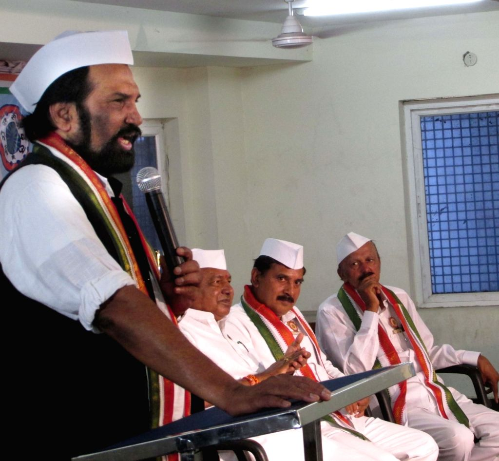 Telanagana Congress chief N. Uttam Kumar Reddy addresses during a party programme in Hyderabad, on June 4, 2018.