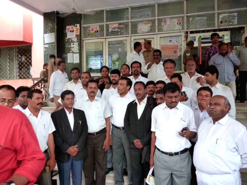 Telangana advocates stage a demonstration against Andhra judges in Hyderabad on June 6, 2016.