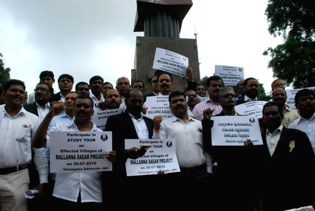 Telangana advocates stage a demonstration against Mallanna Sagar project in Medak district; in Hyderabad on July 30, 2016.