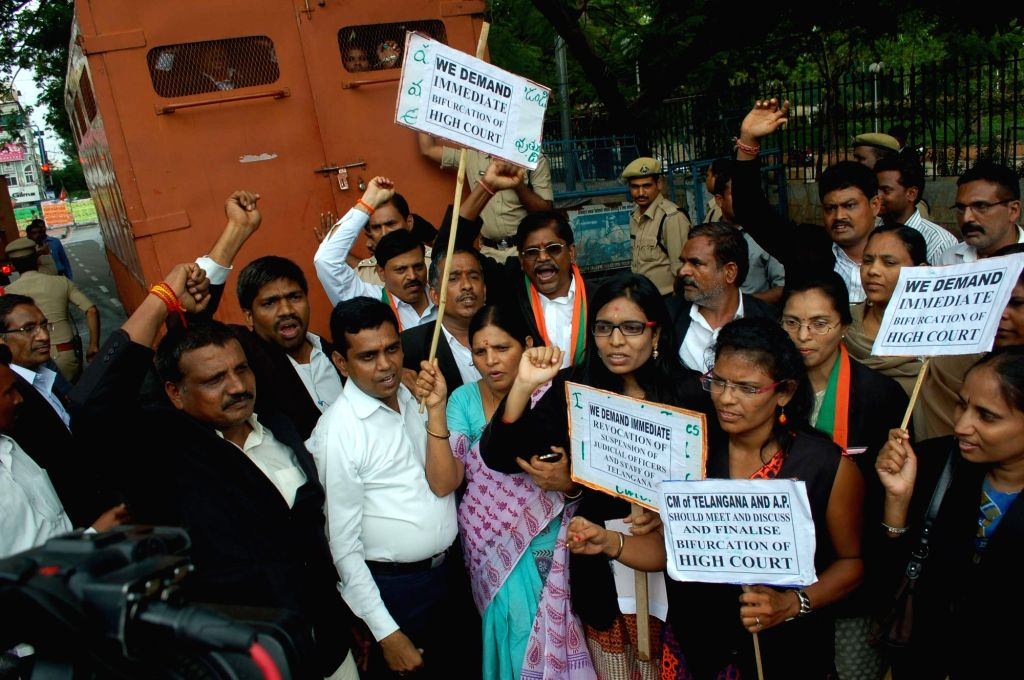 Telangana advocates stage a demonstration to press ​separate Telangana High Court in Hyderabad on July 5, 2016.