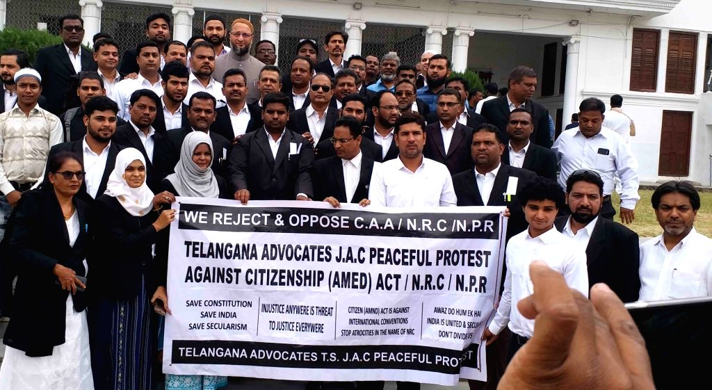 Telangana advocates under the banner of Telangana Students Joint Action Committee (TSJAC) stage a peaceful protest against CAA, NRC and NPR, in Hyderabad on Jan 9, 2020.