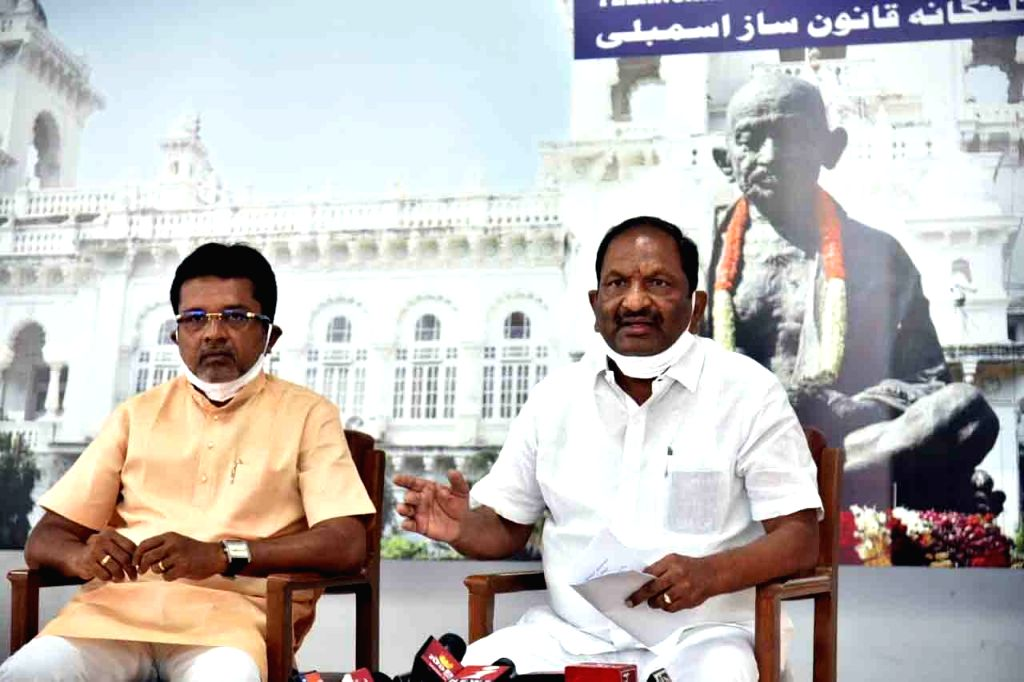 Telangana All Welfare Departments and BC Welfare Minister Koppula Eshwar addresses a press conference in Hyderabad on July 31, 2020. - Koppula Eshwar