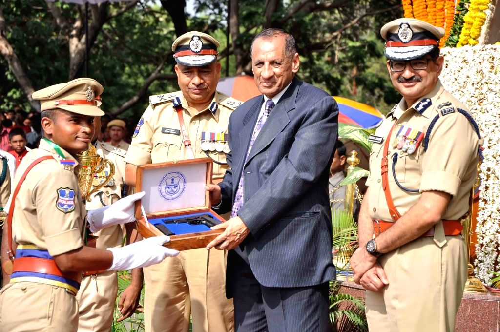 Telangana and Andhra Pradesh Governor ESL Narasimhan during passing out parade at Telangana State Police Academy in Hyderabad, on Nov 2, 2015.