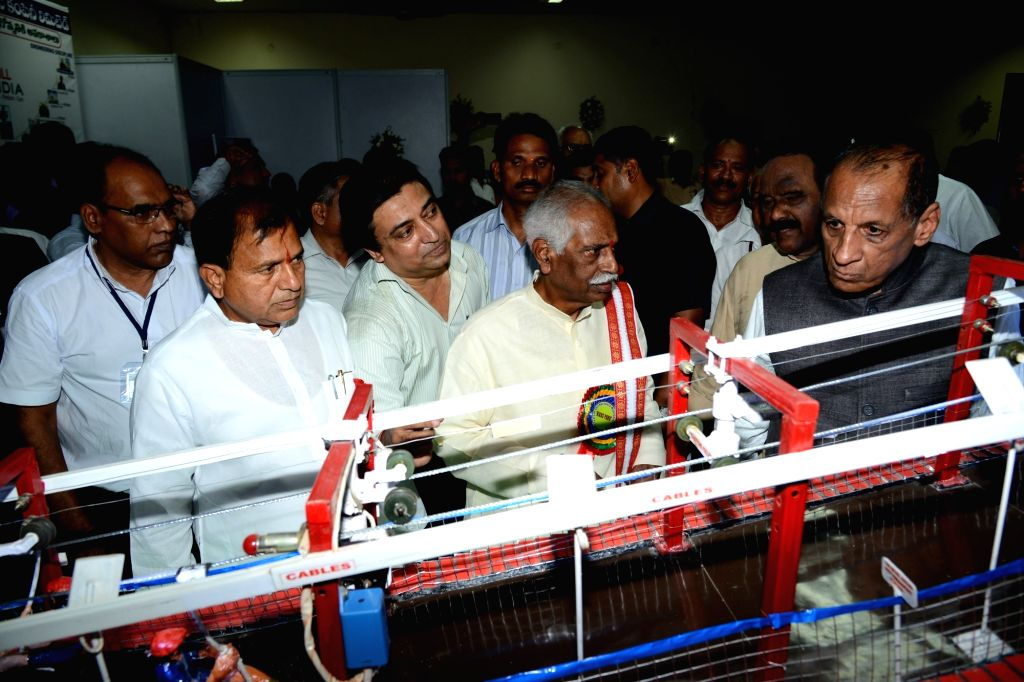 Telangana and Andhra Pradesh Governor ESL Narasimhan and Union Minister of State for Labour and Employment Bandaru Dattatreya during an exhibition in Hyderabad on June 4, 2016.