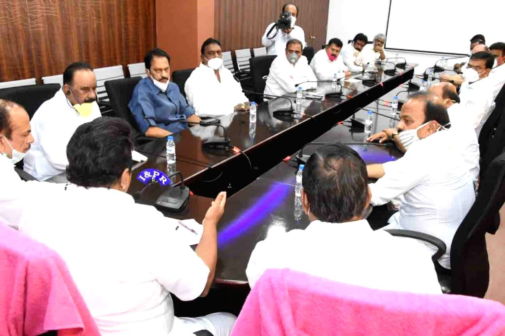 Telangana Animal Husbandry and Fisheries Minister Talasani Srinivas Yadav chairs a review meeting on issues related to measures taken to contain COVID-19, rice distribution and migrant ... - Talasani Srinivas Yadav