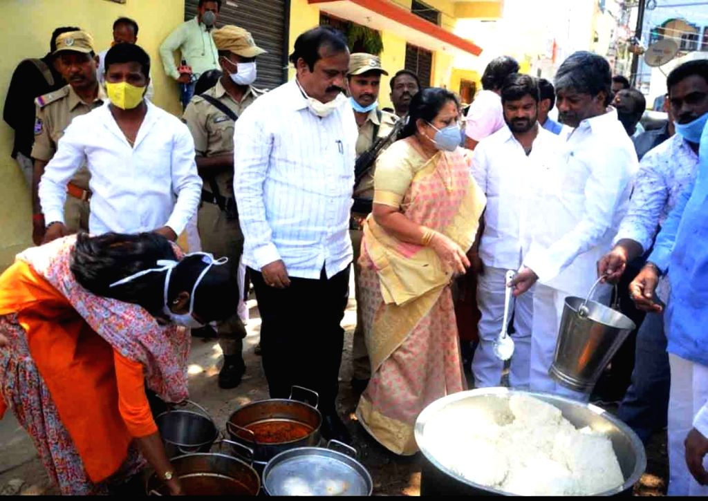 Telangana Assembly Deputy Speaker T. Padma Rao Goud inspects the preparation of food for the poor and the needy on Day 2 of the 21-day nationwide lockdown imposed by the Narendra Modi ... - T. Padma Rao Goud and Narendra Modi