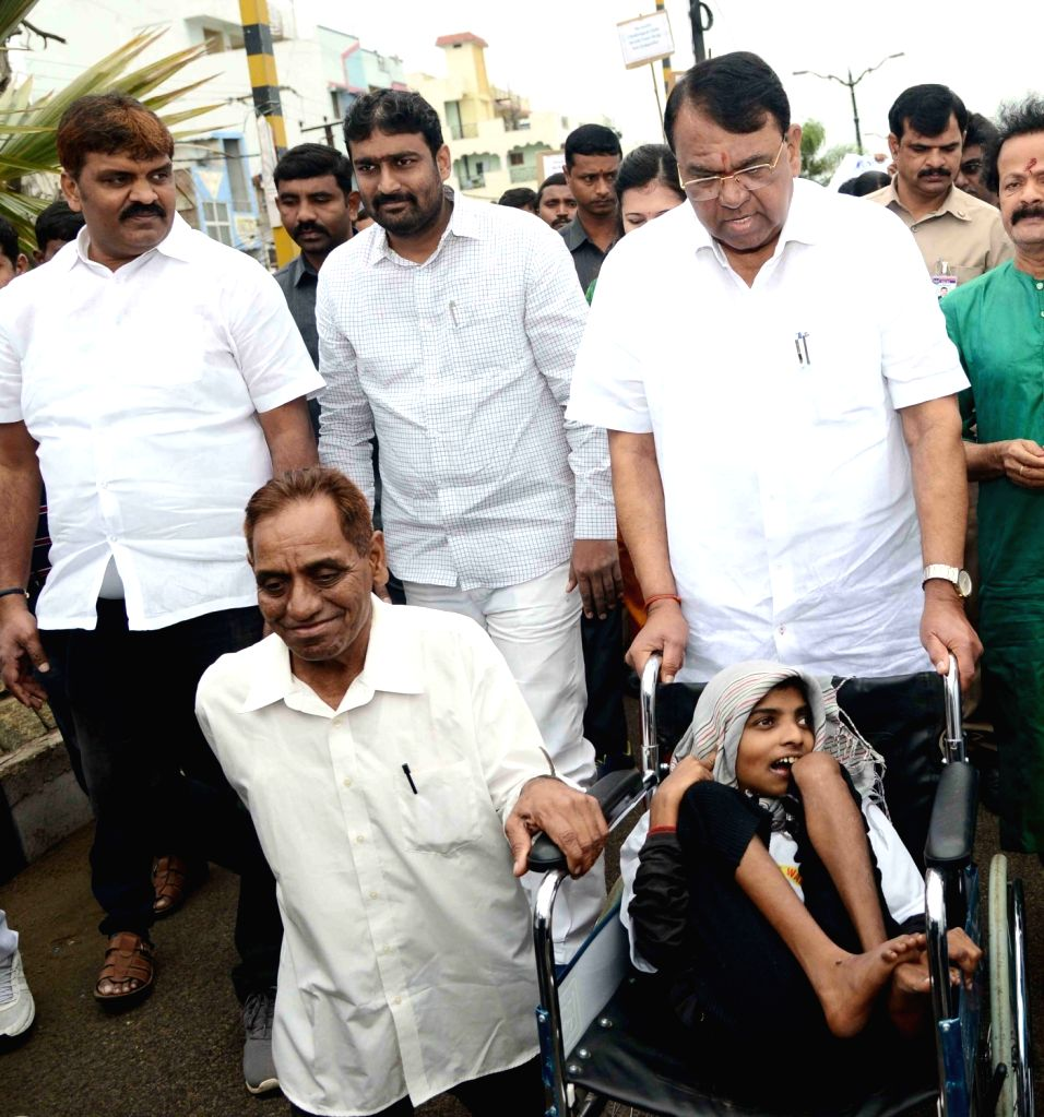 Telangana Assembly Speaker Srinivas Reddy during a programme organised on World Disability Day, in Hyderabad on Dec 3, 2019. - Srinivas Reddy