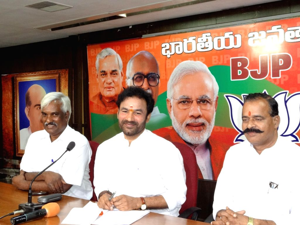Telangana BJP Chief G Kishan Reddy during a press conference in Hyderabad on Sept 7, 2014. - G Kishan Reddy