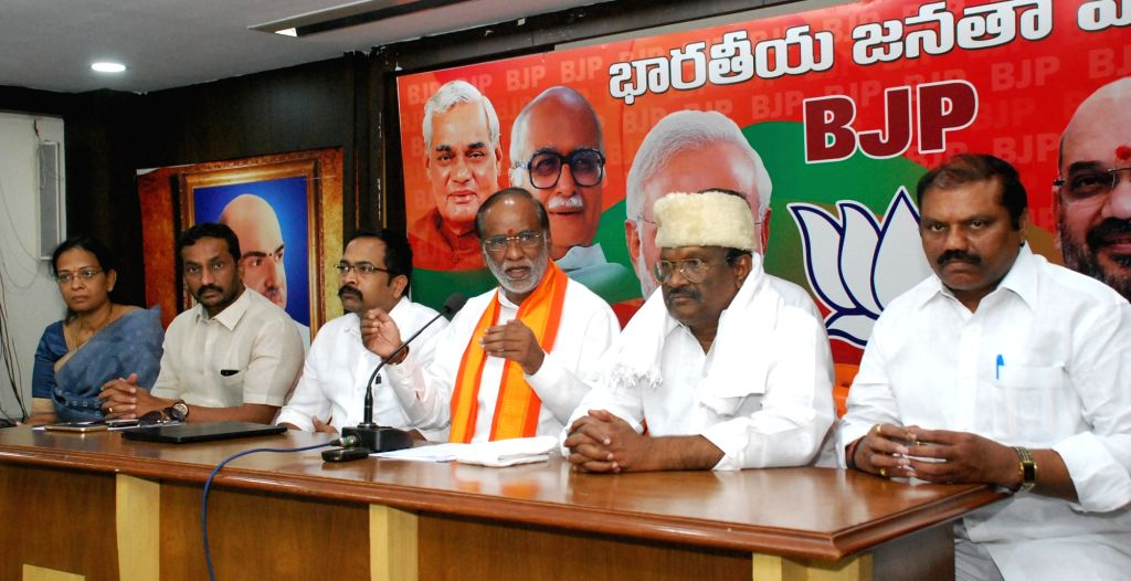 Telangana BJP Chief Laxman addresses a press conference in Hyderabad on May 21, 2017.