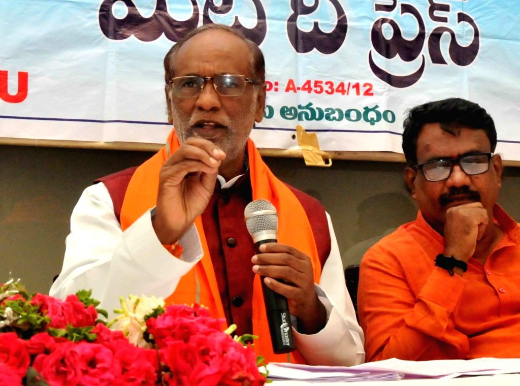 Telangana BJP president K. Laxman addresses a press conference, in Hyderabad on July 10, 2018.