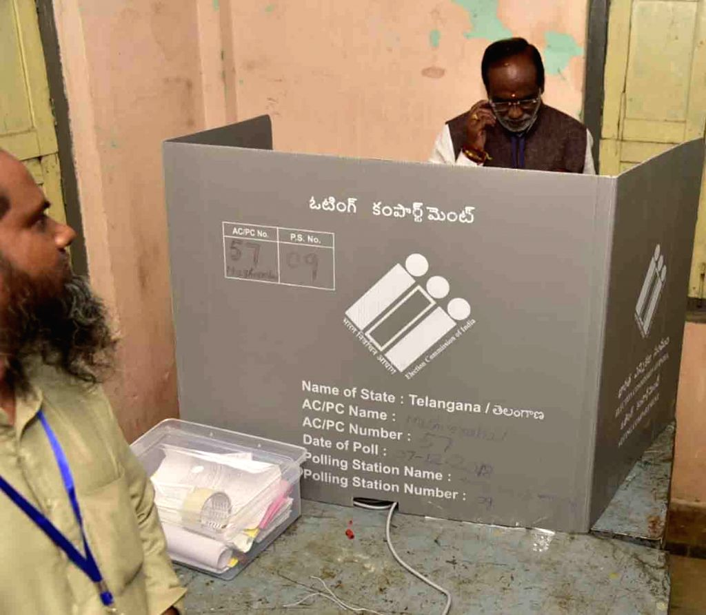 Telangana BJP president K. Laxman casts his vote for Telangana Assembly elections, in Hyderabad on Dec 7, 2018.