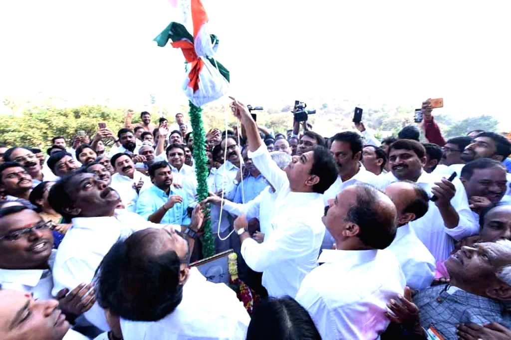 Telangana Cabinet Minister and TRS leader KT Rama Rao hoists the tricolor on the occasion of India's 71st Republic Day, in Hyderabad on Jan 26, 2020. - Rao
