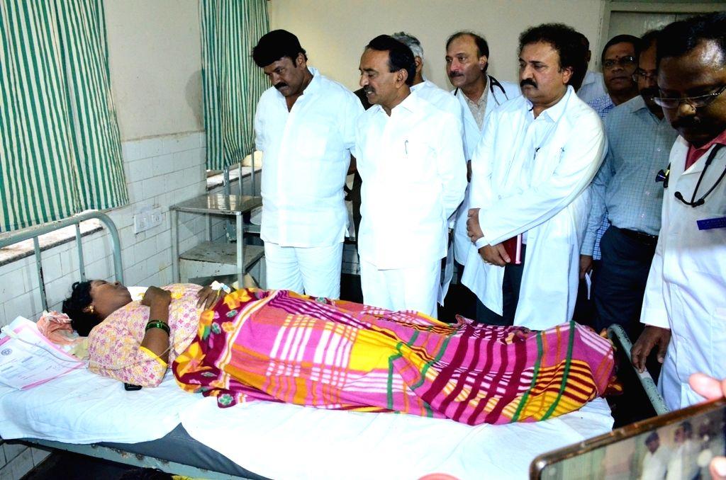 Telangana Cabinet Ministers E. Rajender and Talasani Srinivas Yadav at the inauguration of a new ward at Gandhi Hospital in Hyderabad on Sep 6, 2019. - E. Rajender and Talasani Srinivas Yadav